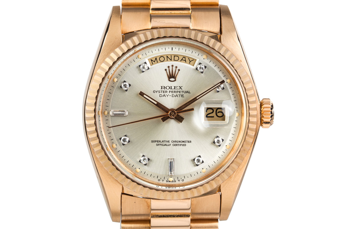 1972 Rolex Rose Gold Day Date 1803 Factory Diamond Silver Dial photo, #0