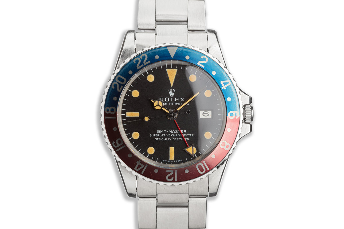 """Unpolished 1970 Vintage Rolex GMT-Master 1675 """"Pepsi"""" Mk1 Dial with Box & Papers photo, #0"""