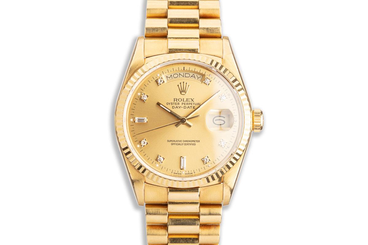 1986 Rolex 18K YG Day-Date 18038 with Metallic Gold Diamond Dial photo, #0