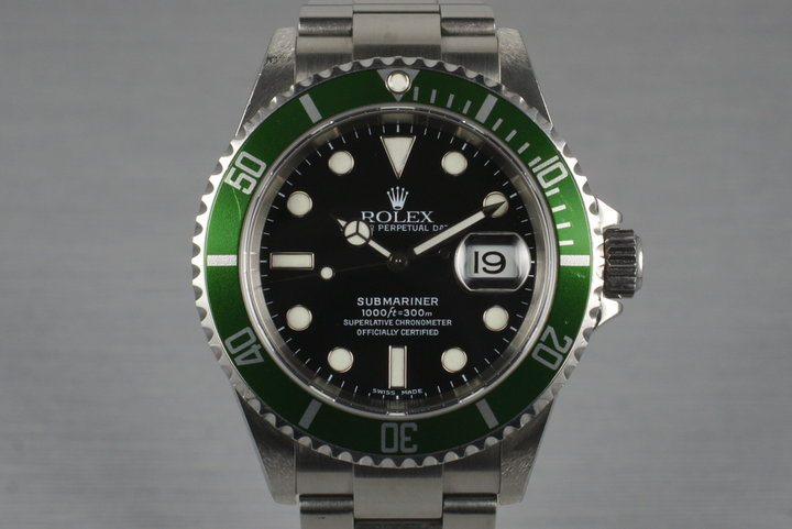 2005 Rolex Green Submariner 16610LV  with Box and Papers photo
