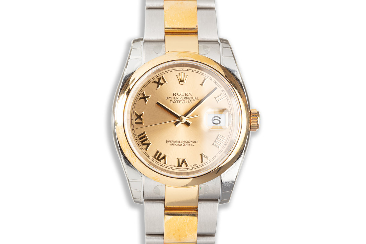 2011 New-Old Stock Rolex Two Tone Datejust 116203 Gold Roman Dial with Box & Papers photo, #0