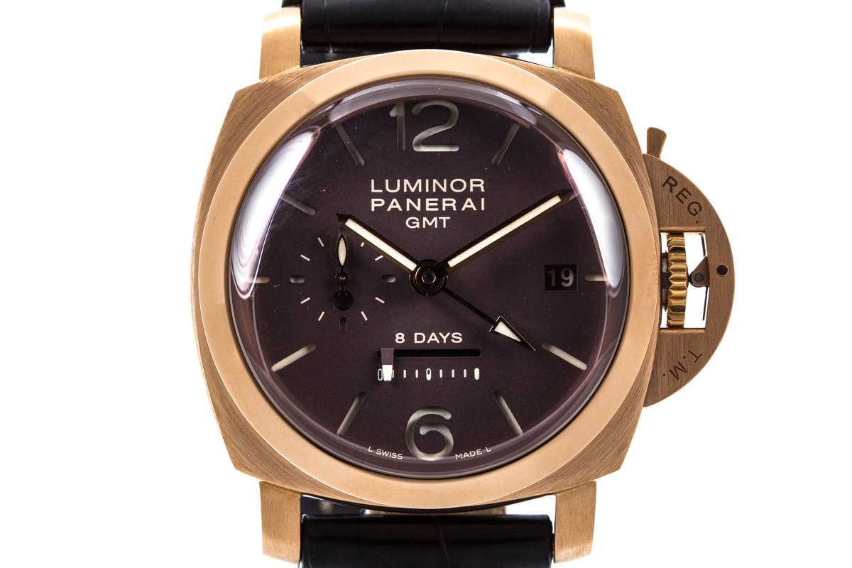 2007 Panerai PAM 289 Rose Gold Luminor 8 Day GMT with Box and Papers photo, #0