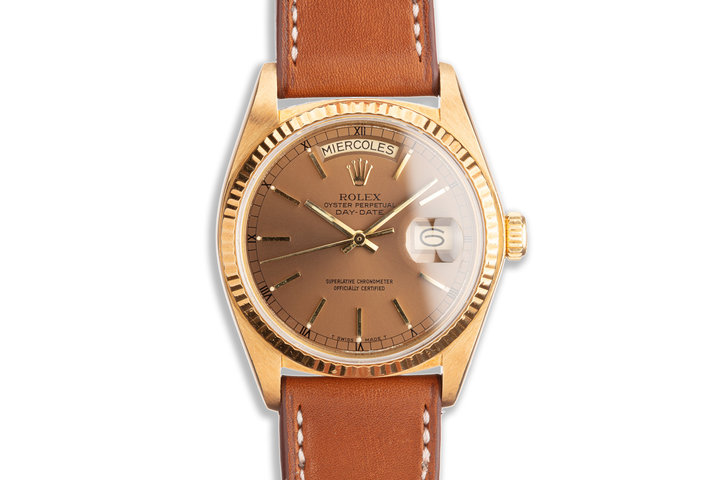 1980 Vintage Rolex 18K YG Brown Dial Spanish Day-Date 18038 photo