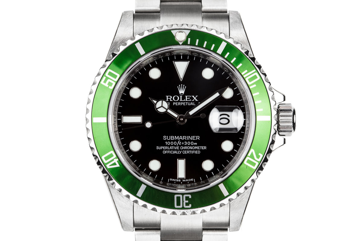 Mint with Stickers 2007 Rolex Anniversary Green Submariner 16610V with Box and Papers photo, #0