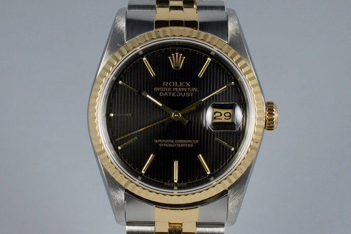 1991 Rolex Two Tone DateJust 16233 Black Tapestry Dial with Concentric Circles photo