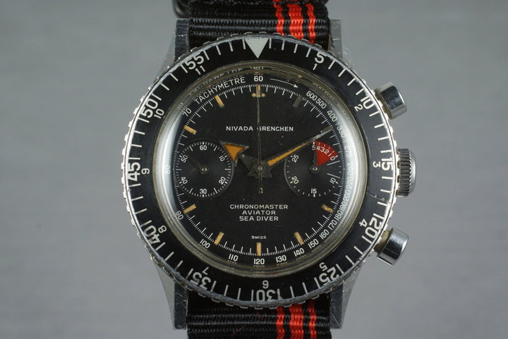 1960's Navada Grenchen ChronoMaster Aviator Sea Diver 9812 photo