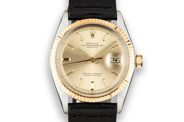 1969 Rolex Two-Tone DateJust 1601 with No Lume Champagne Dial photo