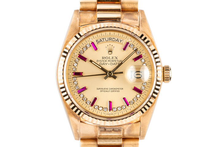 1986 Rolex 18K YG Day-Date 18038 with Diamond and Ruby String Dial photo