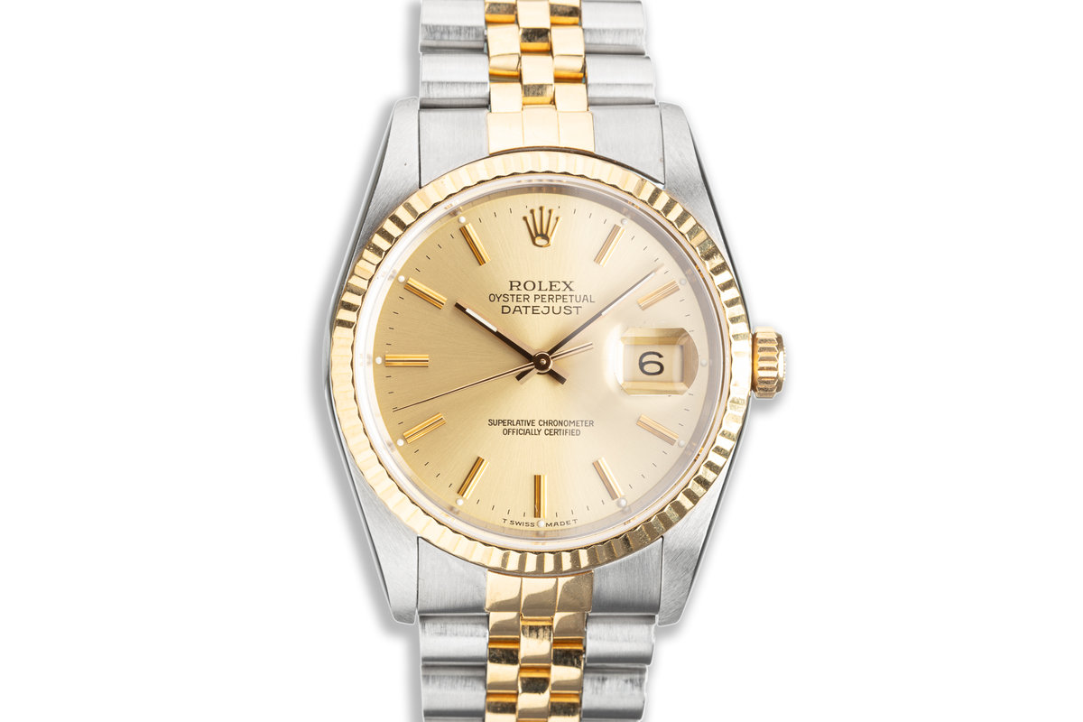 1990 Rolex 18k & Stainless DateJust 16233 Gold Dial photo, #0