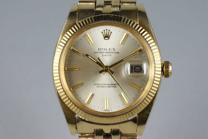 1979 Rolex 14K YG Date 1503 Silver Dial with Papers photo