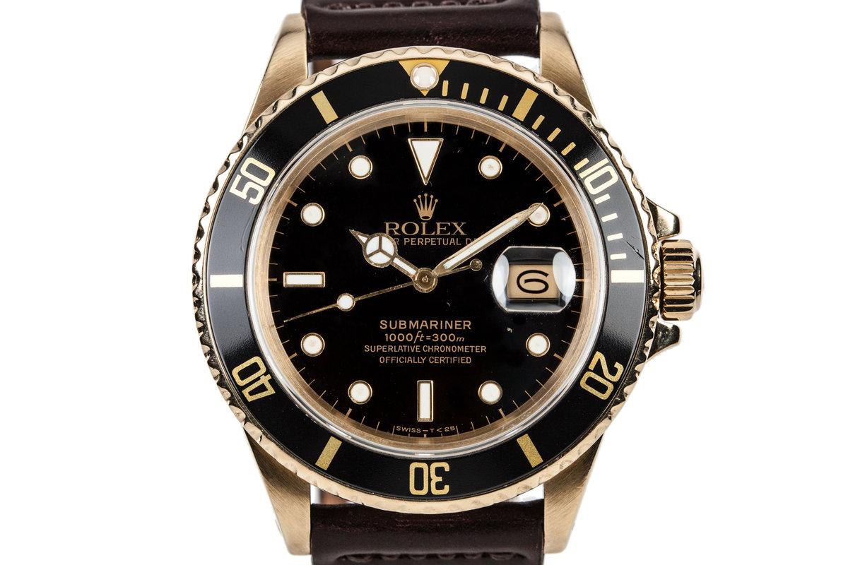 1986 Rolex 18K Gold Submariner 16808 photo, #0