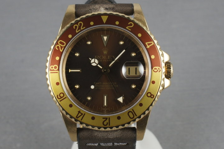 GMT 18K with Root Beer Nipple Dial 16758 with Rolex Service Papers photo