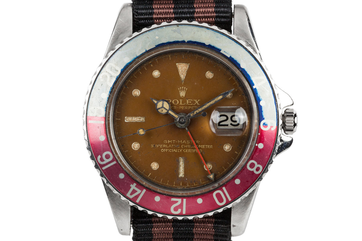 1961 Rolex GMT-Master 1675 Pointed Crown Case with Gilt Tropical Dial photo, #0