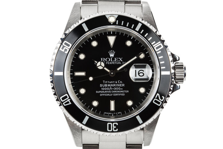 "1995 Rolex Submariner 16610 ""Tiffany & Co."" Dial photo"