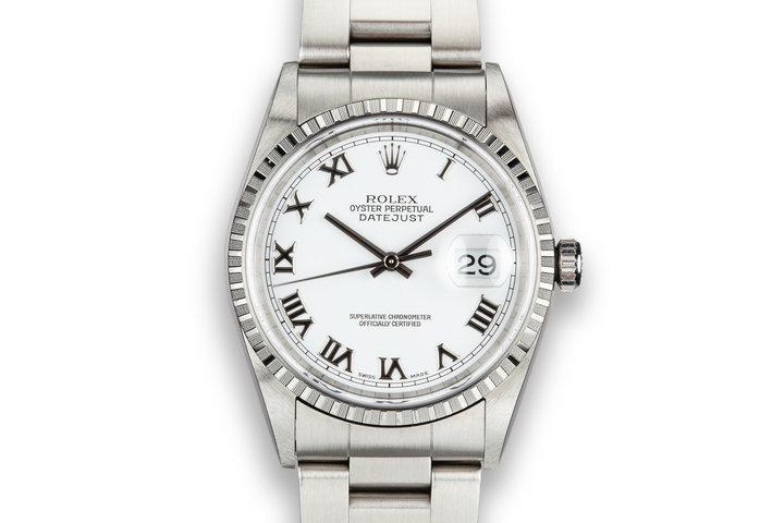 1999 Rolex DateJust 16220 White Roman Numeral Dial photo