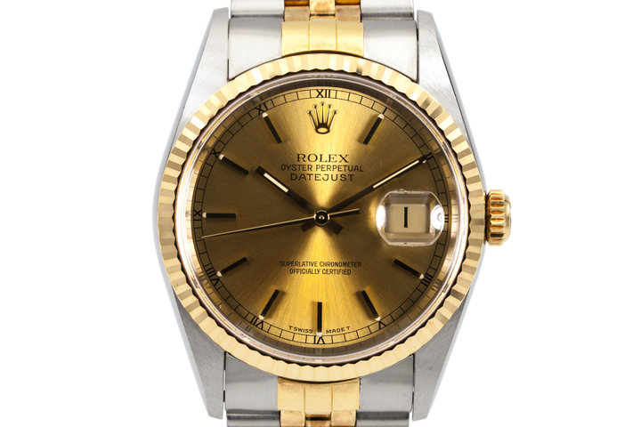 1995 Rolex Two Tone DateJust 16233 Gold Dial photo