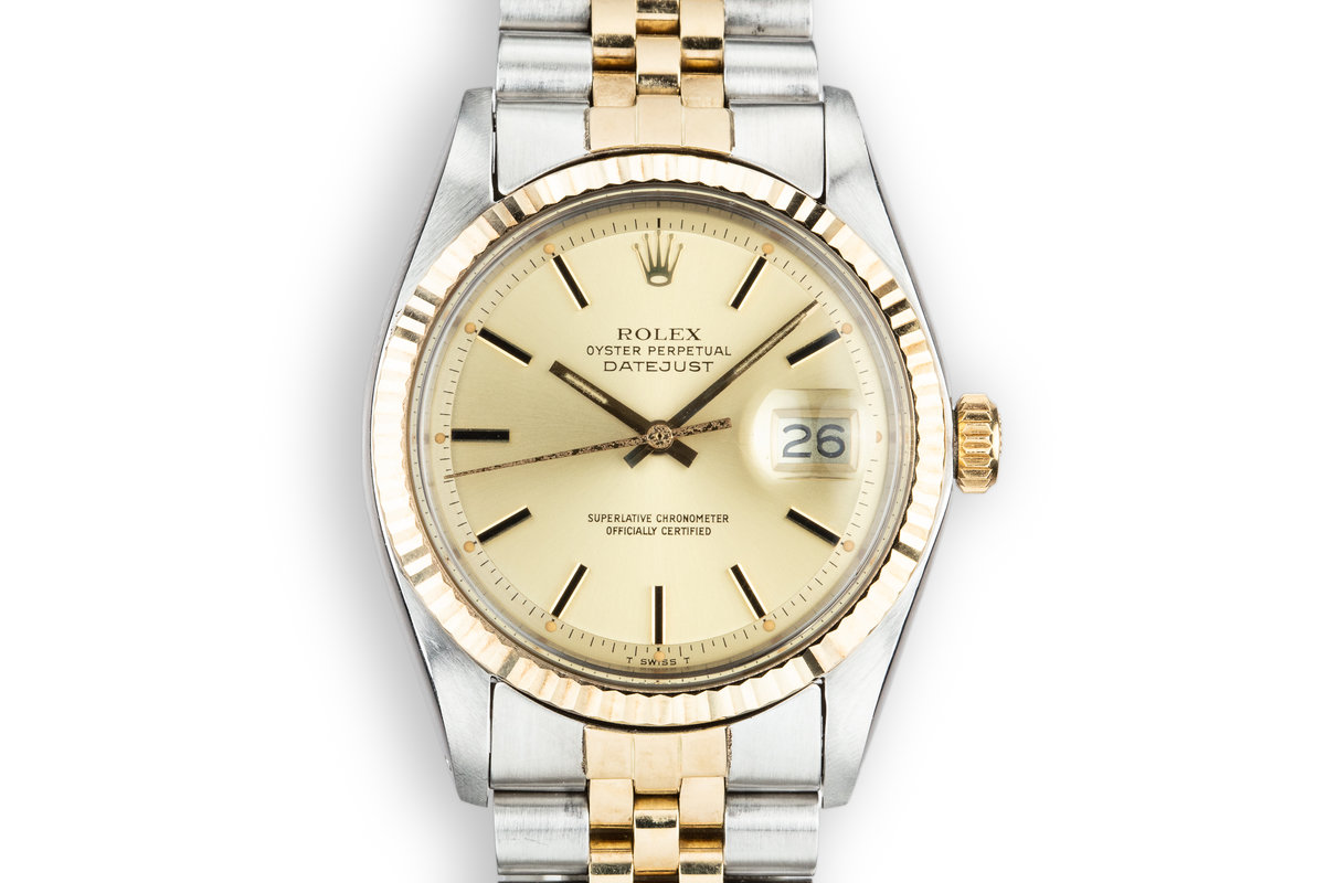 1978 Rolex Two-Tone DateJust 1601 Champagne Dial with Box and Papers photo, #0