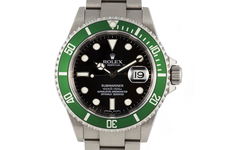 2006 Rolex Green Submariner 16610LV with Box and Papers photo