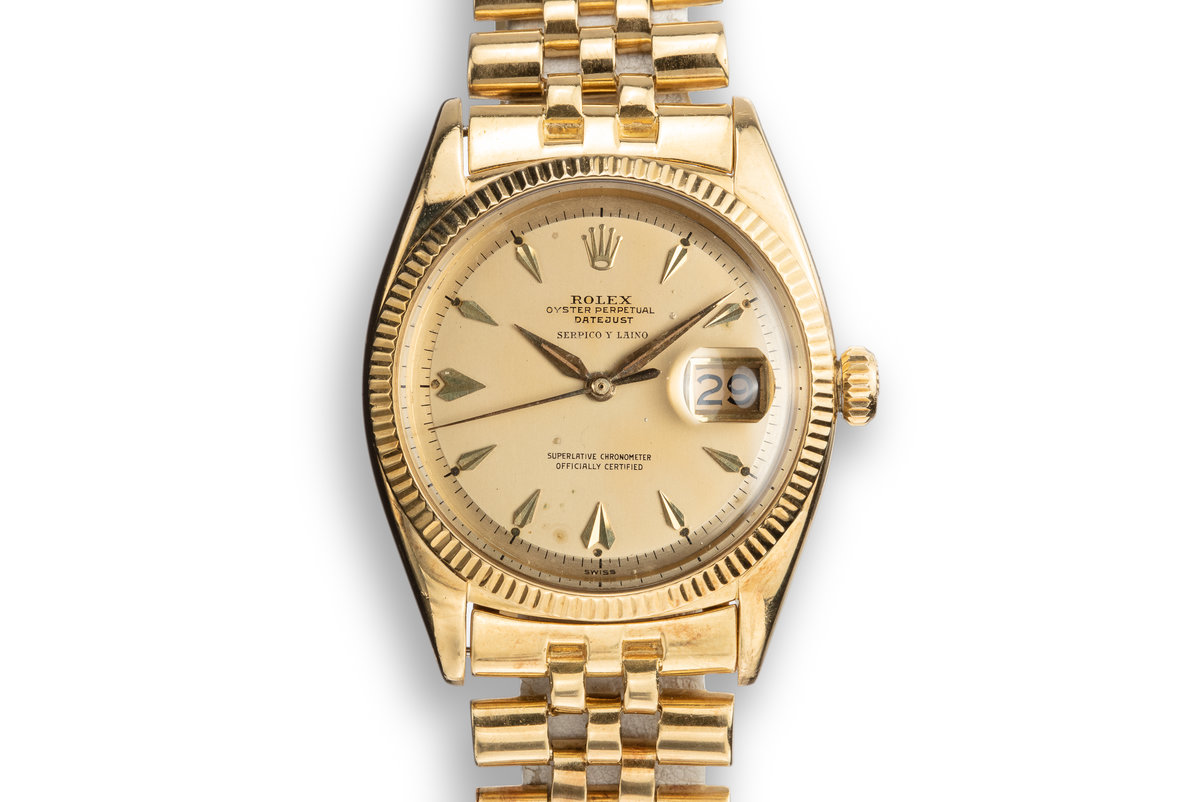 1957 Rolex 18K YG DateJust 6605 Champagne Serpico Y Laino Dial with Service Papers photo, #0