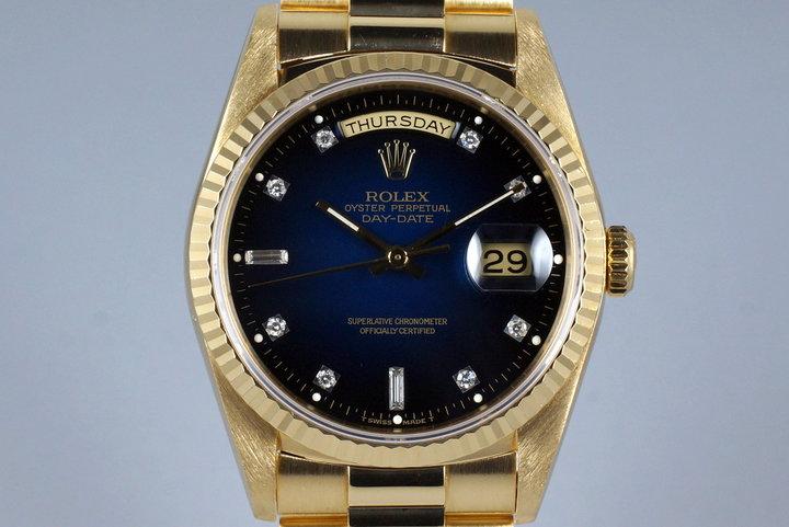 1989 Rolex YG Day-Date 18238 Factory Blue Vignette Diamond Dial photo