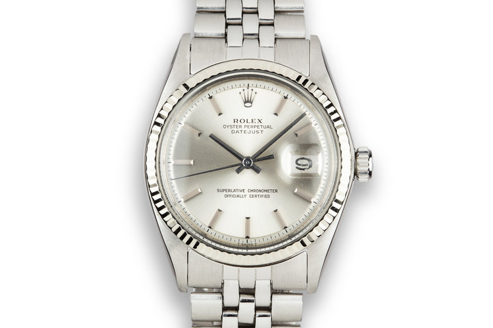 1973 Rolex DateJust 1601 No Lume Silver Dial with Box and Papers photo