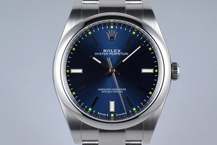 2015 Rolex Oyster Perpetual 114300 Blue Dial with Box photo