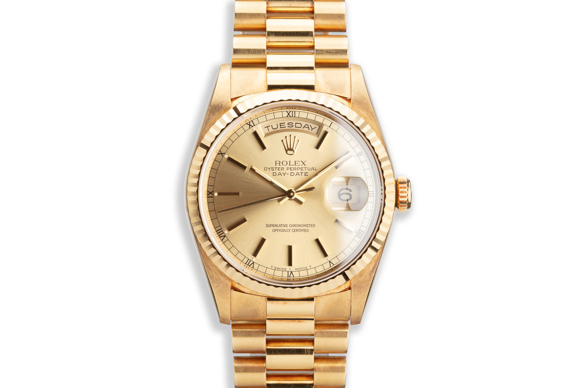1995 Rolex 18K YG Day-Date 18238 Gold Dial photo, #0