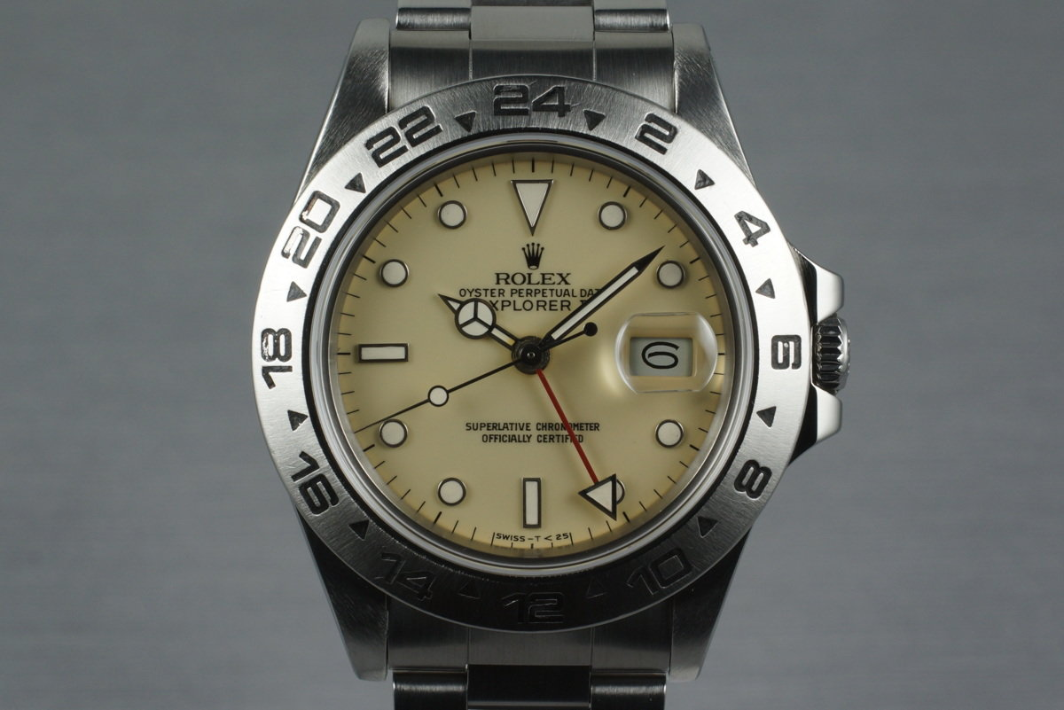 1986 Rolex Explorer II 16550 Cream Rail Dial with Box and Papers photo, #0