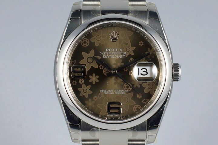 2009 Rolex Datejust 116200 Brown Flower Dial MINT photo