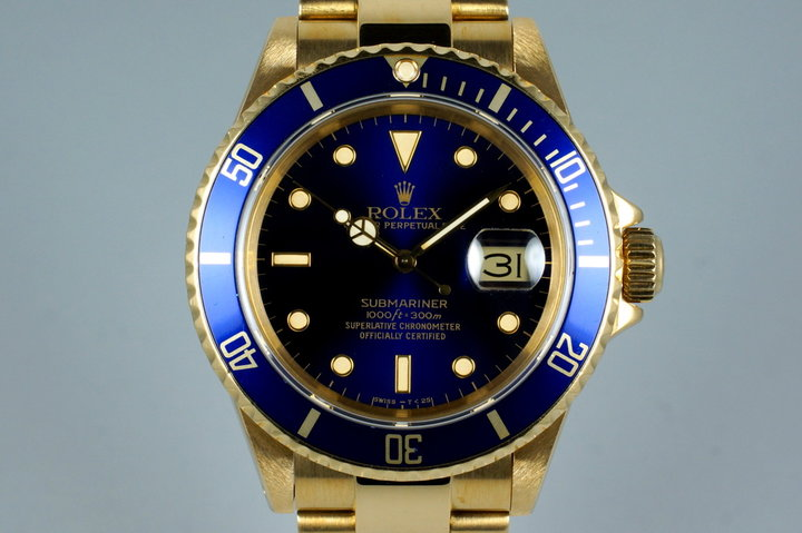 1988 Rolex YG Blue Submariner 16618 photo