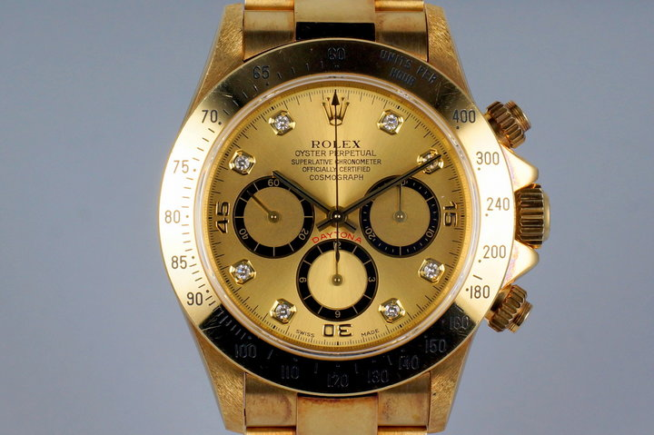 1994 Rolex YG Zenith Daytona 16528 Factory Champagne Diamond Dial photo