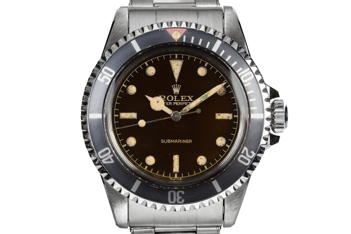 1959 Rolex Submariner 5512 with Tropical Gilt Chapter Ring Dial, Red Triangle Bezel, and Big Logo Stretch Bracelet photo, #0