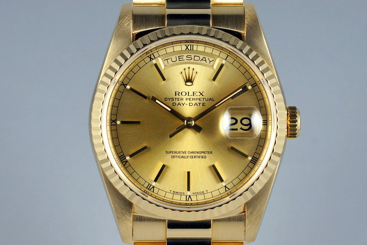 1989 Rolex YG Day-Date 18238 Champagne Dial with Box and Papers photo