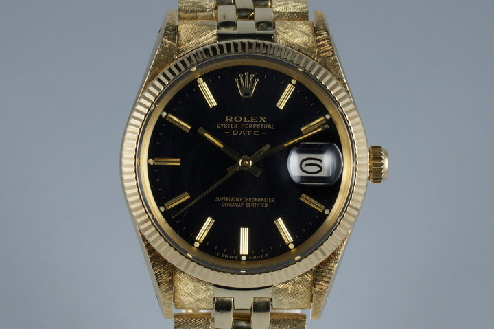 1981 Rolex 14K YG Date 15037 Glossy Gilt Black Dial with Box photo