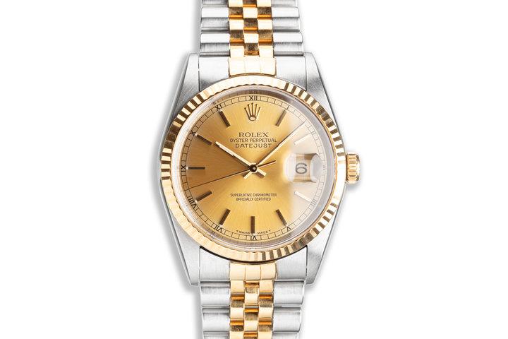 1995 Unpolished Rolex 18K/ST DateJust 16233 Gold Dial photo