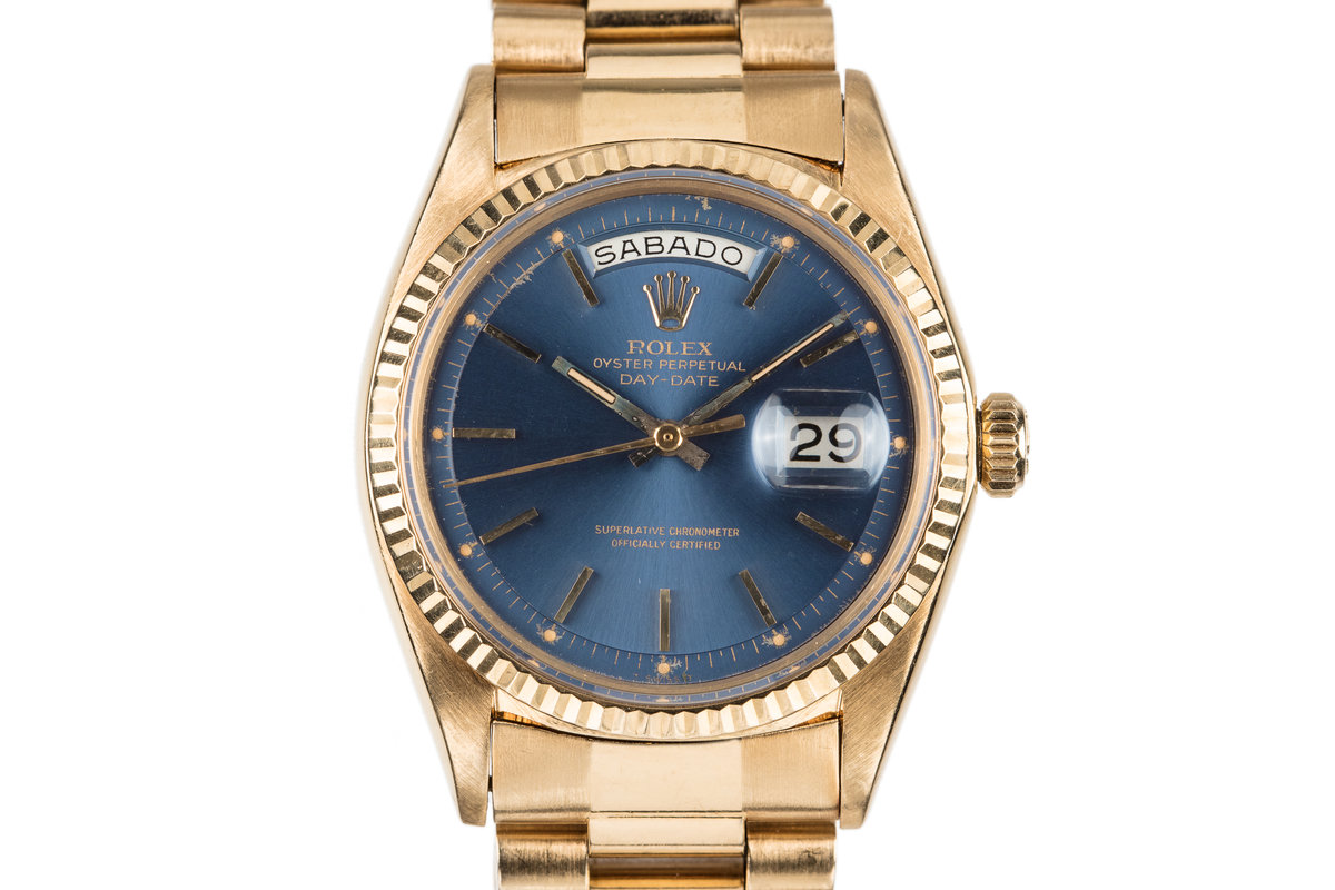 1967 Rolex 18K Day-Date 1803 Blue Dial with Spanish Day Wheel photo, #0