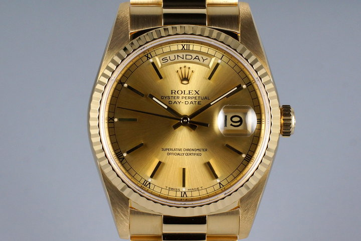 1989 Rolex YG Day-Date 18238 Champagne Dial with RSC Papers photo