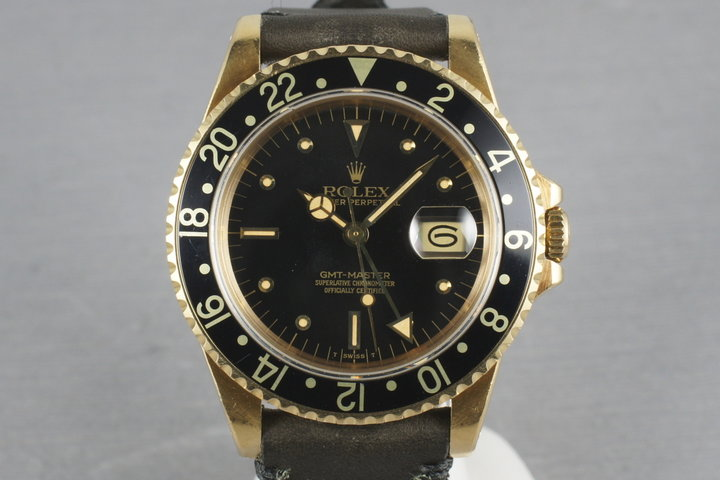 1980 Rolex GMT 18K with Black Nipple Dial 16758 photo