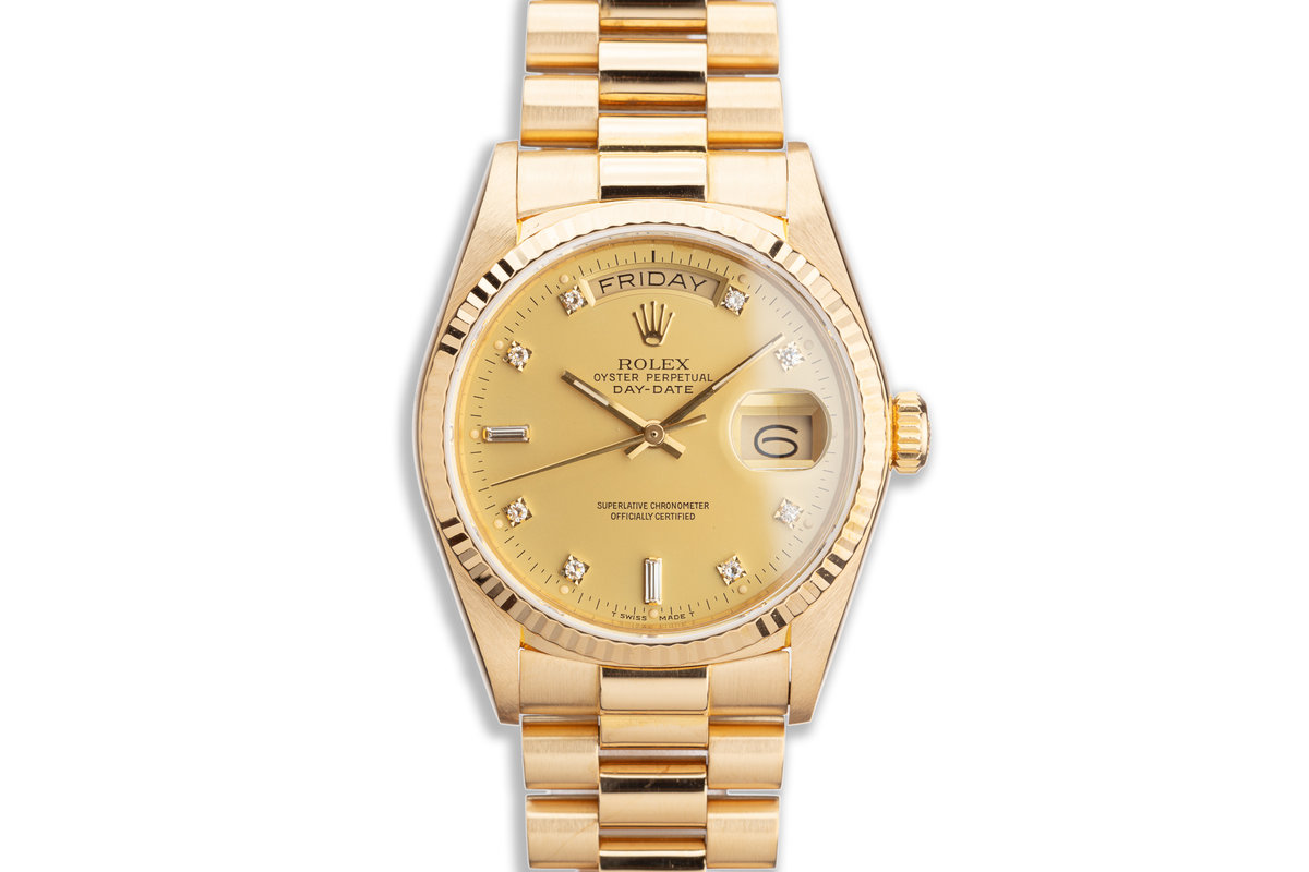 1986 Rolex 18K YG Day-Date 18038 with Matte Gold Diamond Dial photo, #0