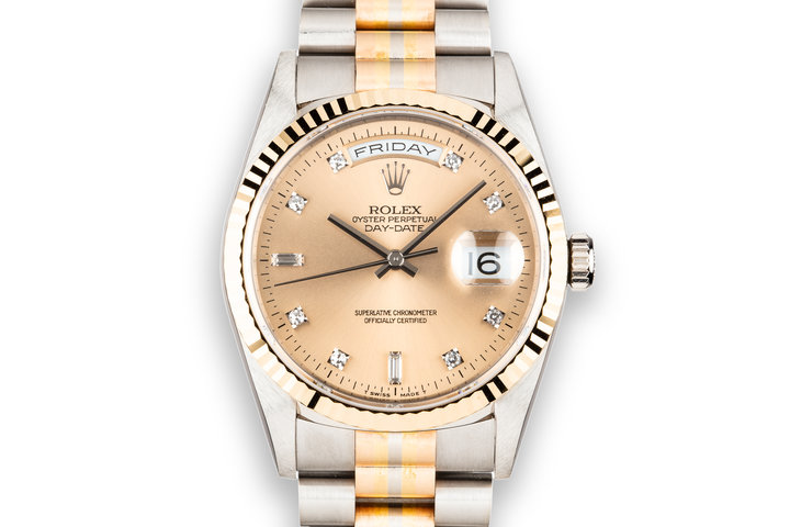 1995 Rolex Day-Date 18239 Tridor President with No Lume Salmon Diamond Dial photo