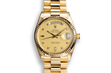 1986 Rolex 18K YG Day-Date 18038A with Matte Gold Diamond Dial photo