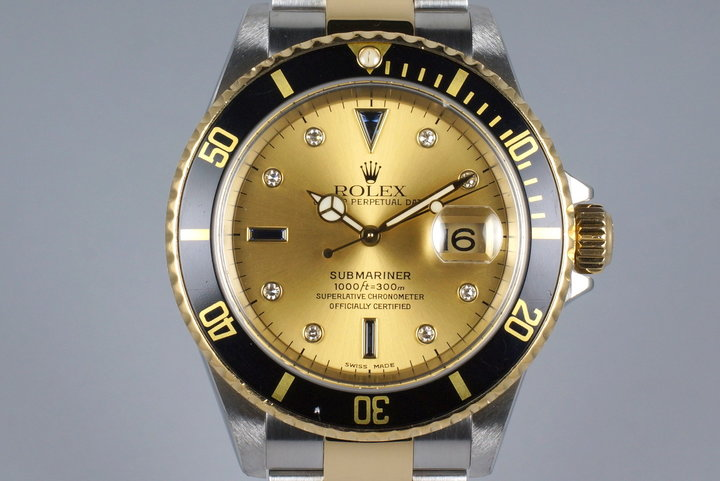 2002 Rolex Two Tone Submariner 16613 Serti Dial with Box and Papers photo