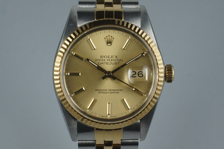 1987 Rolex Two Tone Datejust 16013 with Box and Papers photo