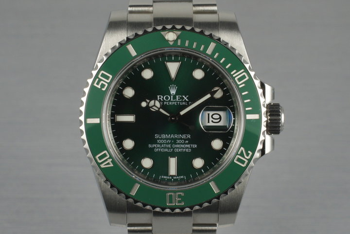 2013 Rolex Green Submariner 116610V with Box and Papers photo