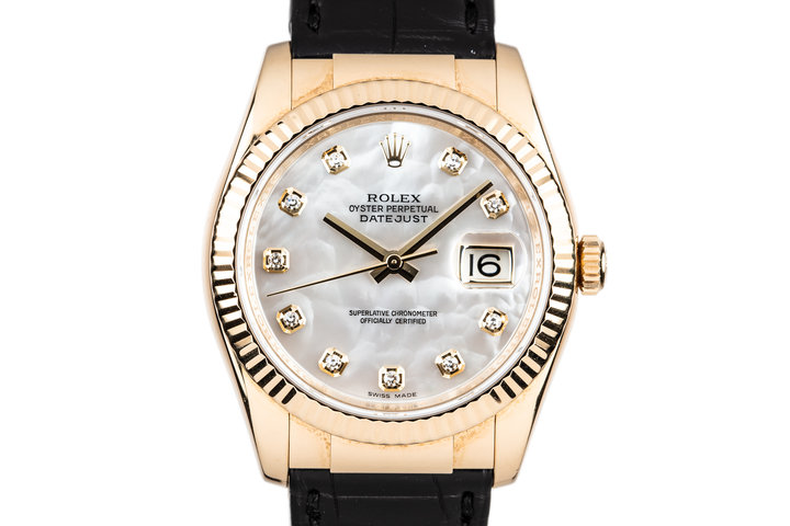 2003 Rolex 18K Gold DateJust 116138 with Mother of Pearl Diamond Dial photo