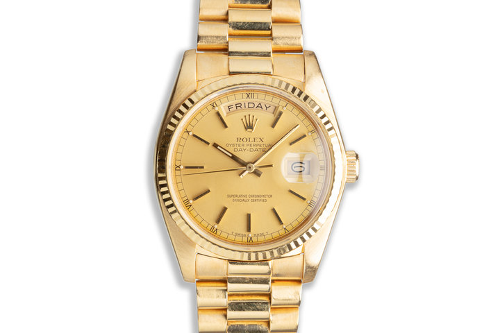 1983 Rolex 18K YG Day-Date 18038 Gold Stick Dial with Box & Papers photo