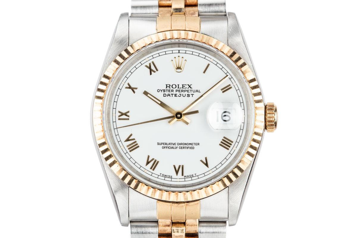 1991 Rolex Two-Tone DateJust 16233 White Roman Dial photo, #0