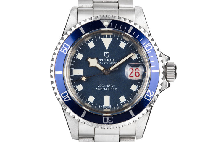 1968 Tudor Snowflake Submariner 7021/0 Blue Confetti Dial with Roulette Date Wheel. photo