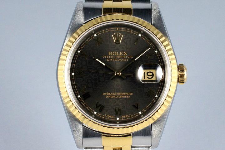 1991 Rolex Two Tone DateJust 16233 Dark Gray Roman Computer Dial photo