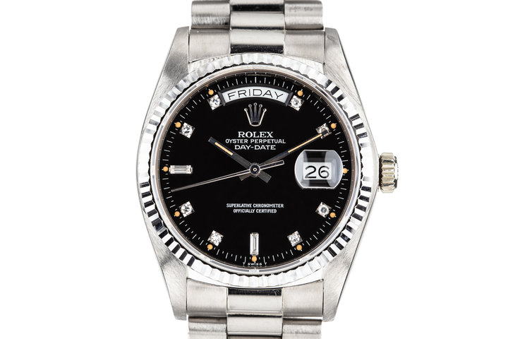 1981 Rolex 18K White Gold Day-Date 18039 with Black Diamond Dial photo